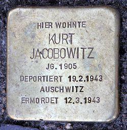 Photo of Kurt Jacobowitz brass plaque