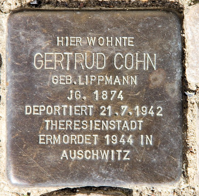 Photo of Gertrud Cohn brass plaque