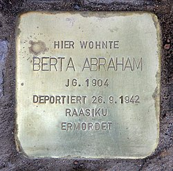 Photo of Berta Abraham brass plaque