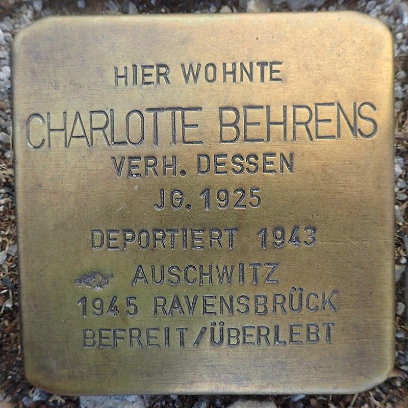 Stolperstein Gardelegen Sandstraße-Marktstraße Charlotte Behrens