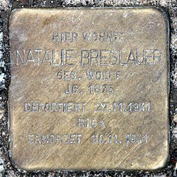Photo of Natalie Breslauer brass plaque
