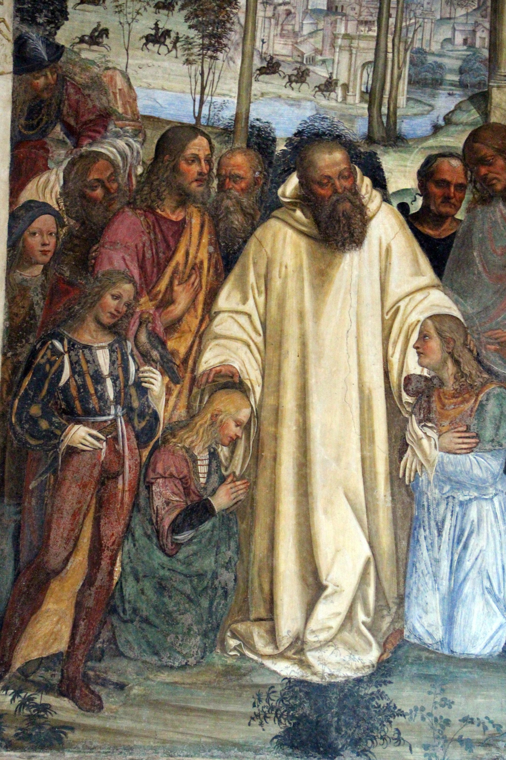 Storie di s. benedetto, 12 sodoma - Come Benedetto riceve li due giovanetti romani Mauro e Placido 05