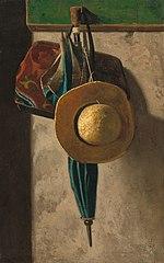 Straw Hat, Bag, and Umbrella