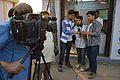 Sukanta Pal - Sumantro Mukherjee - Ayan Choudhury - Doordarshan Interview - Wikimedia Stall - 38th International Kolkata Book Fair - Milan Mela Complex - Kolkata 2014-02-07 8484.JPG
