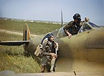 Supermarine Spitfire pilots of No. 40 Squadron, South African Air Force, at Gabes in Tunisia, April 1943. TR1033.jpg