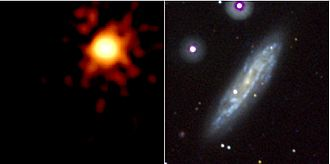 Type Ib and Ic supernovae - The Type Ib supernova SN 2008D in galaxy NGC 2770, shown in X-ray (left) and visible light (right), at the corresponding positions of the images. (NASA image.)