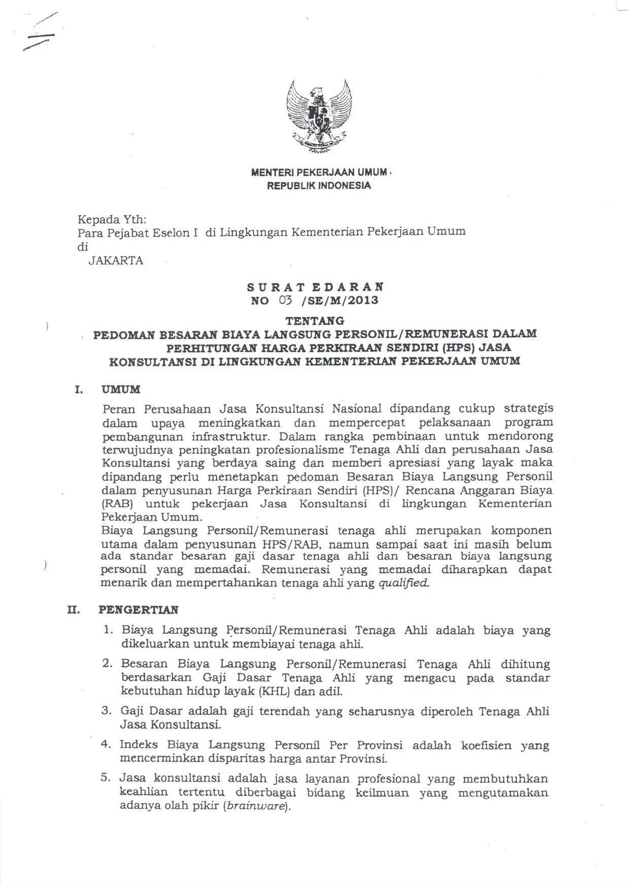 Filesurat Edaran Menteri Pu Nomor  Tentang Biaya Remunerasi Tenaga Ahli Pdf