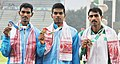 Surendar J. of India won Gold Medal, Prem Kumar K of India won Silver Medal and Mohsin Ali of Pakistan won Bronze Medal in Men's 110 Hurdles final in Athletics, at 12th South Asian Games-2016, in Guwahati.jpg