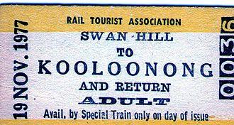 Piangil railway line - Swan Hill-Kooloonong rail ticket 1977
