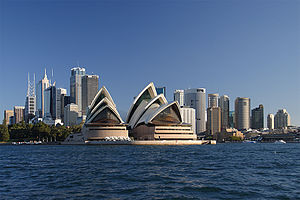 The skyline of the Sydney central business dis...