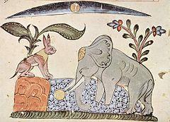 Ilustración de la fábula india La liebre y el elefante, incluida en el Kalîla y Dimma