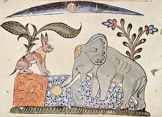 Anthropomorphism - From the Panchatantra: Rabbit fools Elephant by showing the reflection of the moon