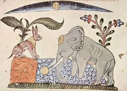 From the Panchatantra: Rabbit fools Elephant by showing the reflection of the moon