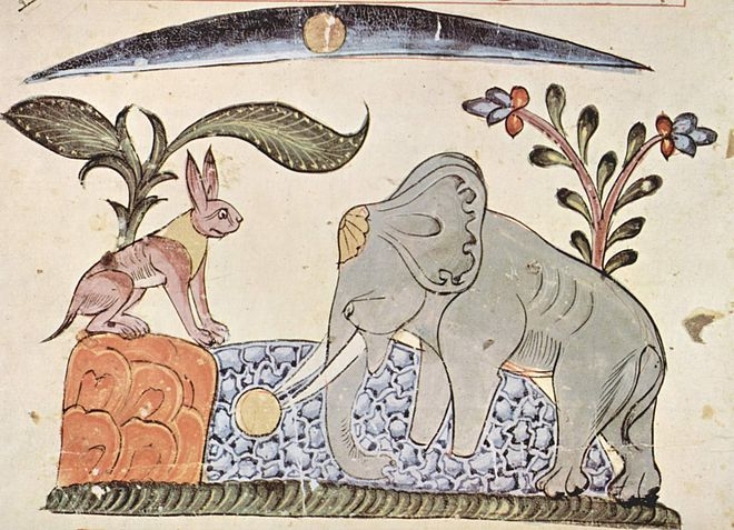 """Rabbit fools Elephant by showing the reflection of the moon"". Illustration (from 1354) of the Panchatantra Syrischer Maler von 1354 001.jpg"