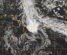 Satellite image of a disorganized area of clouds approaching the Hawaiian islands.