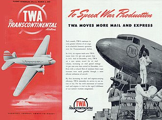 TWA Air Mail & Express service. March, 1943 TWA Air Mail & Express 1943.jpg