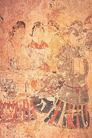 Japanese painting - Mural painting from the Takamatsuzuka Tomb