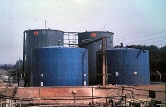 Bunding - Acid storage tanks inside a brick bund wall