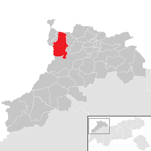 Location of the municipality of Tannheim (Tyrol) in the Reutte district (clickable map)