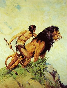 Illustration by James Allen St. John for Tarzan and the Golden Lion by Edgar Rice Burroughs