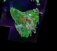 Immagine satellitare della Tasmania