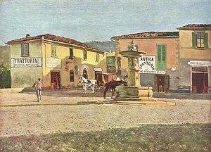 Settignano - La piazza di Settignano, Telemaco Signorini, 1880