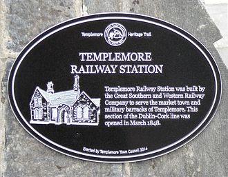 Templemore railway station - Templemore Railway Station plaque