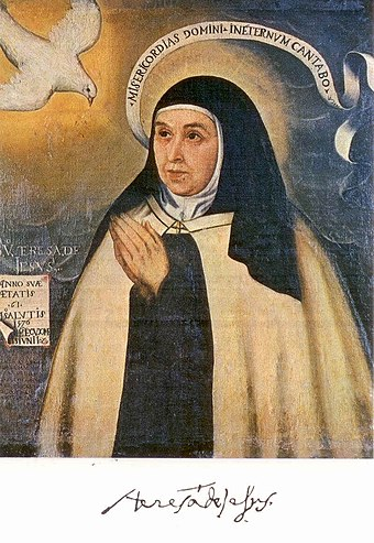 This is the one portrait of Teresa that is probably the most true to her appearance. It is a copy of an original 1576 painting of her when she was 61 Teresa de Jesus.jpg