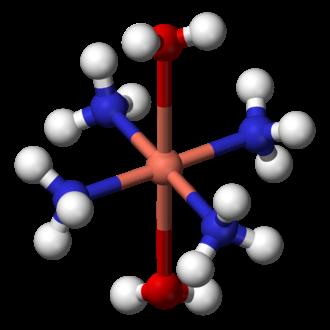 Metal ammine complex - Image: Tetraamminediaquacop per(II) 3D balls