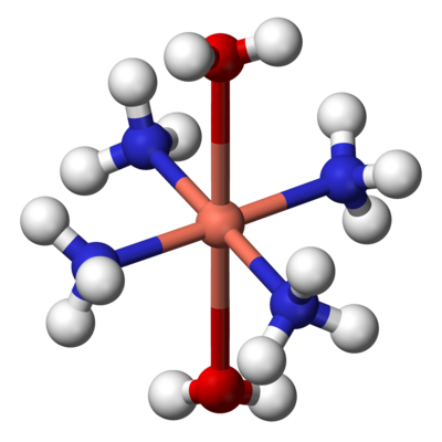 Ball-and-stick model of the complex [Cu(NH3)4(H2O)2] , illustrating the octahedral coordination geometry common for copper(II). Tetraamminediaquacopper(II)-3D-balls.png