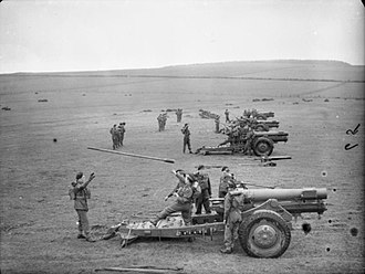 Scottish Horse - Howitzers of the 79th (The Scottish Horse) Medium Regiment during a training exercise, Banffshire, Scotland (May 1941)