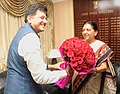 The Chief Minister of Gujarat, Smt. Anandiben Patel calling on the Minister of State (Independent Charge) for Power, Coal and New and Renewable Energy, Shri Piyush Goyal, in New Delhi on August 08, 2014 (1).jpg