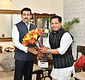 The Chief Minister of Meghalaya, Shri Conrad Sangma meeting the Minister of State for Youth Affairs and Sports (IC) and Information & Broadcasting, Col. Rajyavardhan Singh Rathore, in New Delhi on May 03, 2018.JPG