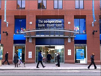 The Co-operative Bank - The former head-office branch of The Co-operative Bank in Balloon Street, Manchester.  This branch has since closed.