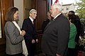 The Evening Parade guest of honor, John Warner, second from left, a former secretary of the U.S. Navy and U.S. senator, and his wife, Jeanne Vander Myde, left, greet guests during a reception in Warner's honor 130503-M-LU710-047.jpg