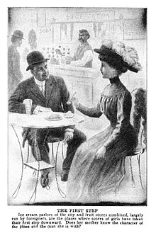 This shows a young couple at an ice cream parlor in 1910.