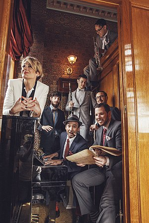 "The Hot Sardines - ""Miz Elizabeth"" Bougerol on left, then Top to bottom: Jason Prover, Nick Myers, Joe McDonough, Evan ""Sugar"" Crane, Alex Raderman, Evan ""Bibs"" Palazzo  photo by LeAnn Mueller"
