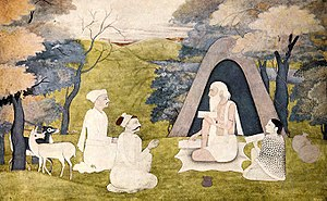 Kusha (Ramayana) - The Sage Valmiki, teaching Ramayana to Kusa and Lava