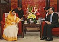The President, Smt. Pratibha Devisingh Patil meeting the Prime Minister of China, Mr. Wen Jiabao, at Zhong Nanhai, Beijing on May 27, 2010.jpg