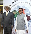 The President of Uganda, Mr. Yoweri Museveni being received by the Minister of State for Rural Development, Shri Sudarshan Bhagat, on his arrival, in New Delhi on October 27, 2015.jpg