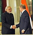 The Prime Minister, Shri Narendra Modi and the President of Russian Federation, Mr. Vladimir Putin at the joint media briefing, in Moscow, Russia on December 24, 2015 (1).jpg