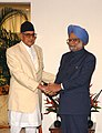 The Prime Minister of Nepal, Shri Girija Prasad Koirala meeting with the Prime Minister, Dr. Manmohan Singh on the sideline of the 15th SAARC Summit in Colombo, Sri Lanka on August 03, 2008.jpg