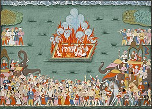 Madhavrao I - The cremation of Madhavrao and the sati of his wife Ramabai