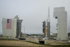 The Tower rolls back from Delta IV Medium+ (5,2).JPG