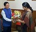 The Union Minister for Human Resource Development, Smt. Smriti Irani meeting the Chief Minister of Sikkim, Shri Pawan Chamling, in Gangtok on June 24, 2016.jpg