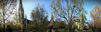 University of Notre Dame - The University's historic center, comprising the Basilica, the Golden Dome, and Washington Hall, was built in the early years of the university.
