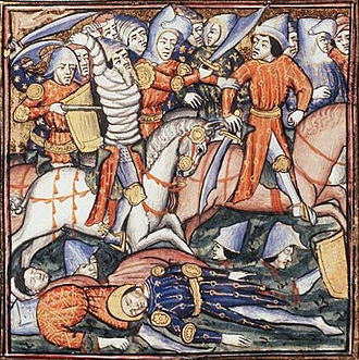 First Master of the Bible Historiale of Jean de Berry - The battle of Cannae, ca 1390-1400. Bibliothèque nationale de France