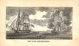 Sinking of HMS Reindeer - Woodblock of the action between Wasp and Reindeer