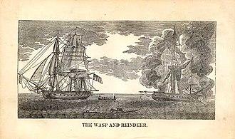 Sinking of HMS Reindeer - Woodblock of the action between Wasp and Reindeer