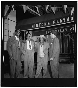 Howard McGhee - (From left) Thelonious Monk, Howard McGhee, Roy Eldridge, Teddy Hill, Minton's Playhouse, New York City, c. September 1947